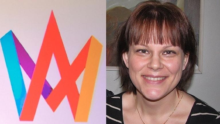 Melodifestivallogotype och Katarina Daggert. Foto: Sveriges Radio.