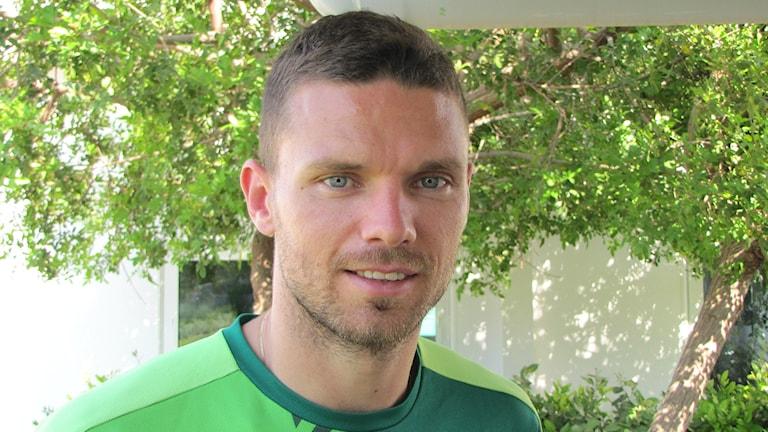 Marcus Berg trivs i Panathinaikos och med livet i Aten. Foto: Magnus Hermansson/Sveriges Radio.