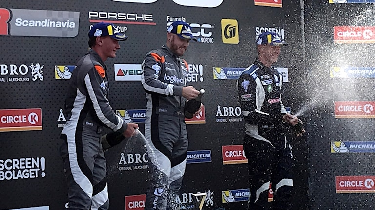 Daniel Haglöf, Philip Morin och Johan Kristoffersson på pallen.