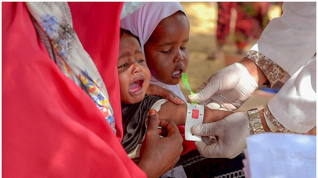 Ett barn får hjälp av en läkare.