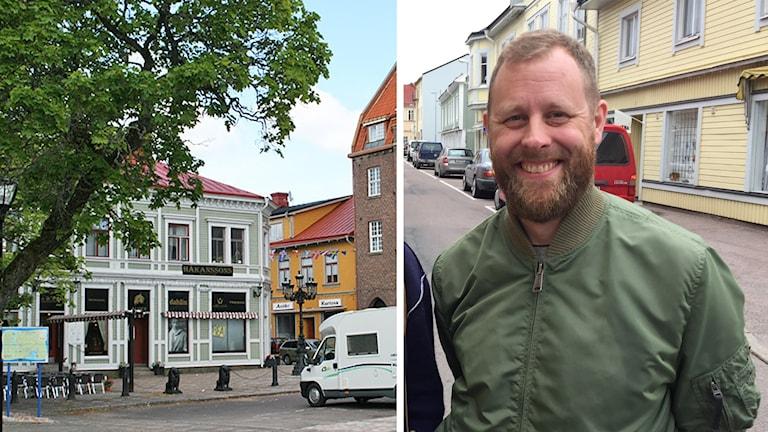 Filipstads centrum och Fredrik Lindholm som jobbat med enkätundersökningen i kommunen.