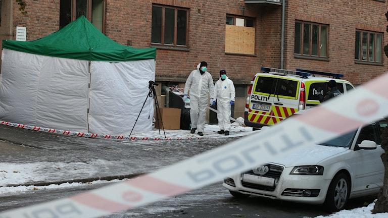 Norska polisen vid en avspärrad plats i Oslo. Foto: Gorm Kallestad/TT