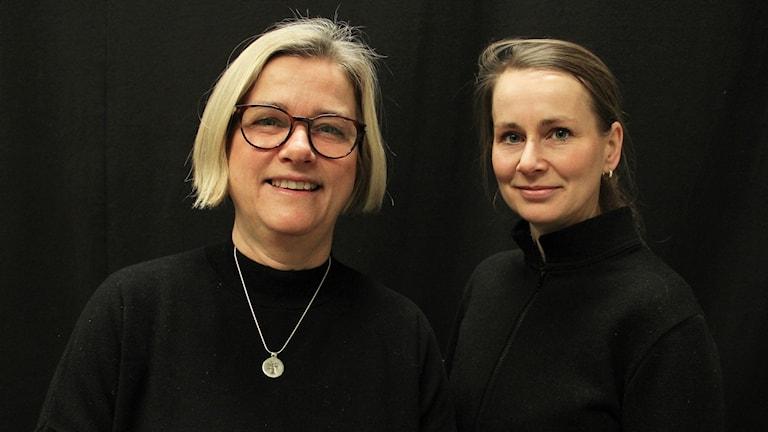 Barnmorskorna Karin Ängeby och Anna Harrisson. Foto: Lars-Gunnar Olsson/Sveriges Radio.