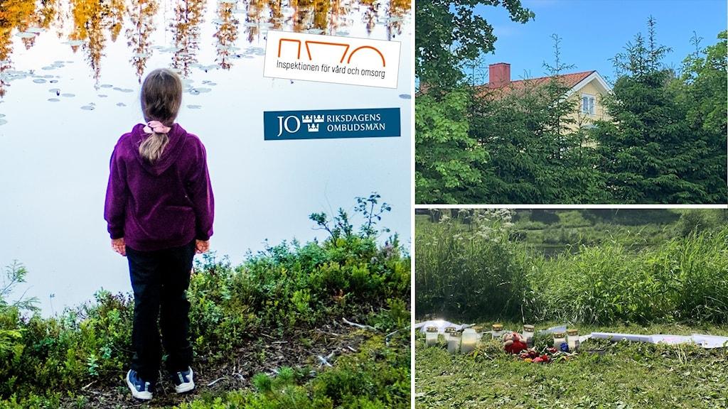 Ett barn blickar ut över vattnet och bilder på olycksplatsen och på huset som stängts.