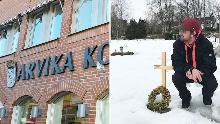 En bild på arvika kommunhus och Mikael Eriksson