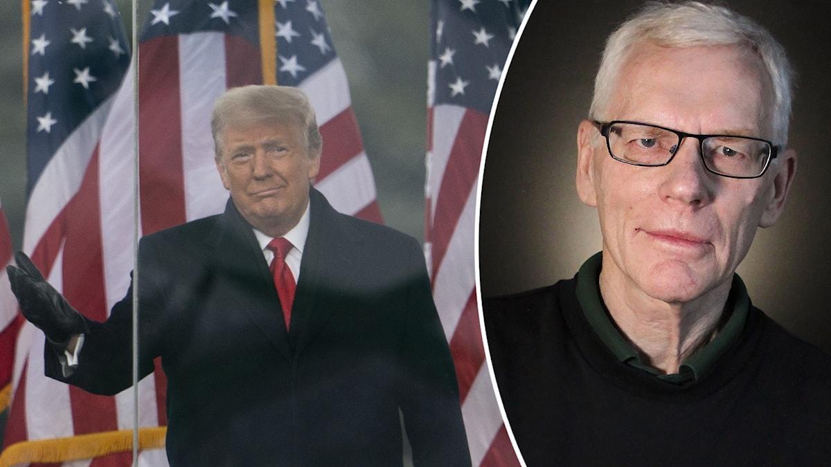 Donald Trump, Hans Lödén. Foto: Evan Vucci/AP och Lars-Gunnar Olsson/Sveriges Radio.