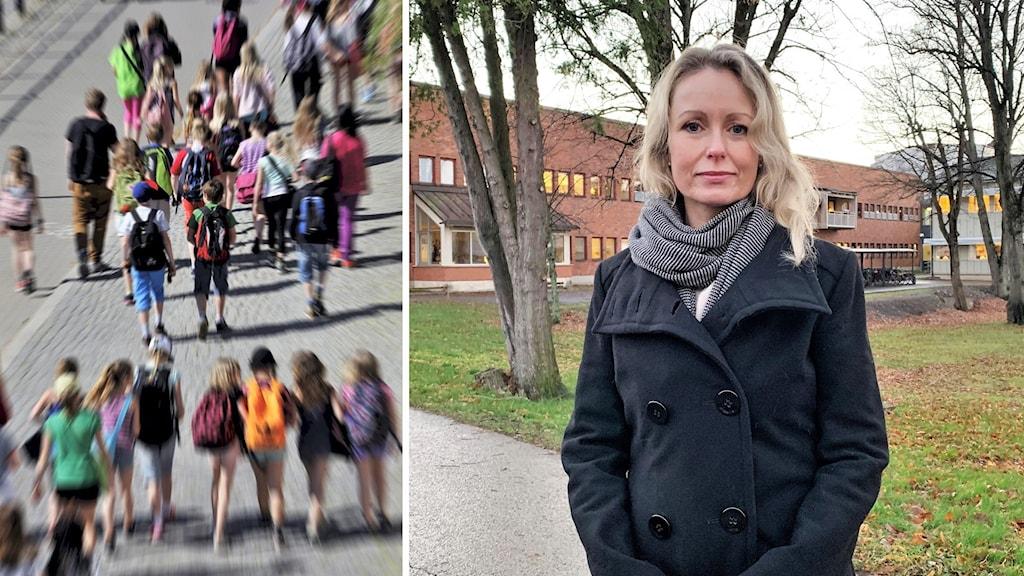 skolelever på väg till skolan och Anna skogstam, en kvinna framför sjukhuset.