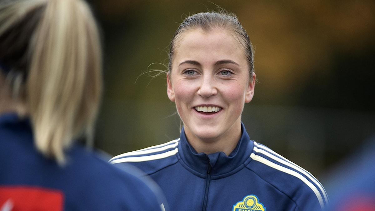 Julia Karlernäs påen landslagssamling. Foto; Jessica Gow/TT.
