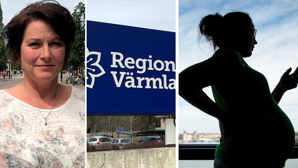 collage med vårdfackets ordförande, en gravid kvinna och en regionvärmlandskylt
