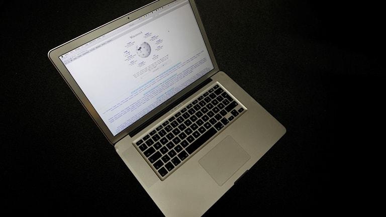 En dator där en Wikipedia-sida visas. Foto: Håkon Mosvold Larsen/TT.