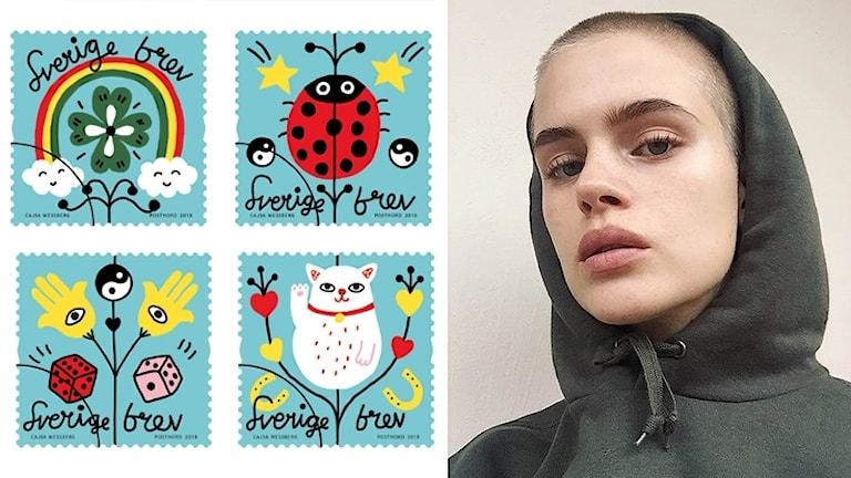 Frimärken och en selfiebild av Cajsa Wessberg. Foto: Postnord och privat.