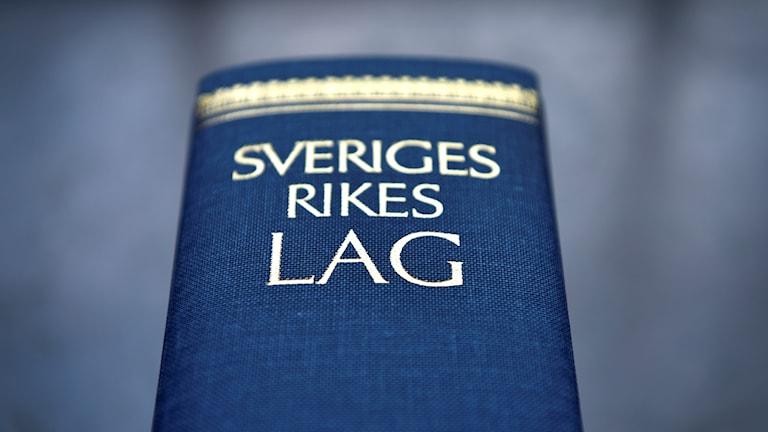 Närbild av lagboken. Foto: Anders Wiklund/TT