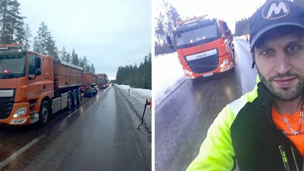 Halka, lastbilar i kö och en selfie på Markus Eklund. Foto: Markus Eklund.