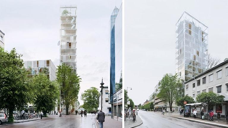 Planerat höghus sett från två olika håll i centrum. Grafik/Montage: Arrhov Frick arkitektkontor
