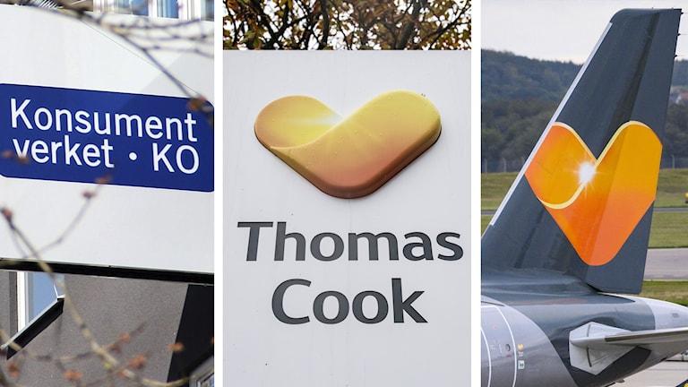 Konsumentverket, Thomas Cook och Ving. Foto: Lars-Gunnar Olsson/Sveriges Radio och Silas Sten/AP, Johan Nilsson/TT.