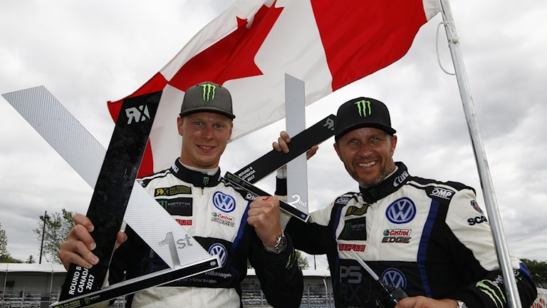 Johan Kristoffersson och Petter Solberg efter Kanadas World RX Foto: Colin McMaster, McKlein