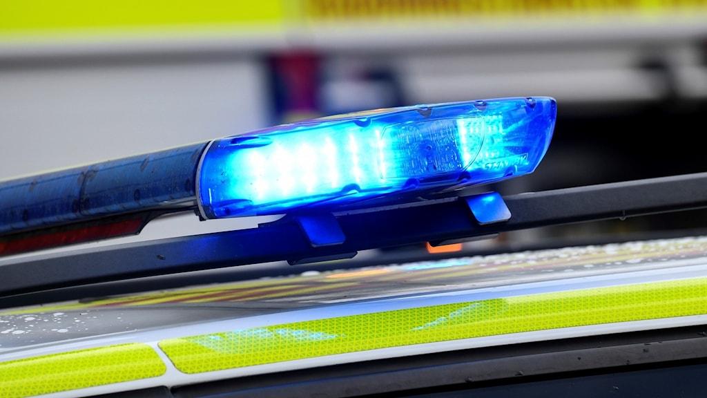 En polisbil med blåljus. Foto: Johan Nilsson/TT.