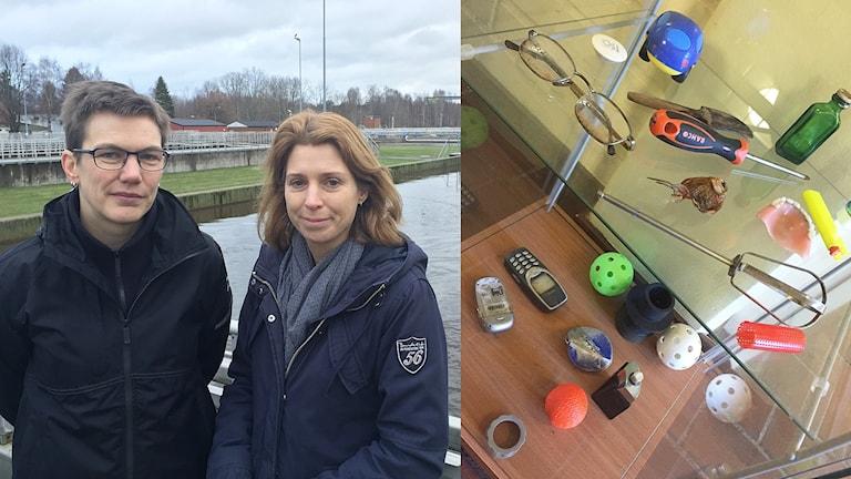 Kajsa-Stina Ohlström och Caroline Rådberg på Sjöstadverken, saker som slängts i toaletten. Foto: Tomas Hedman/Sveriges Radio.