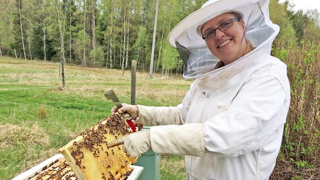Anna-Karin Olsson Heino, biodlare i Ölme. Foto: Micael Thernström/Sveriges Radio