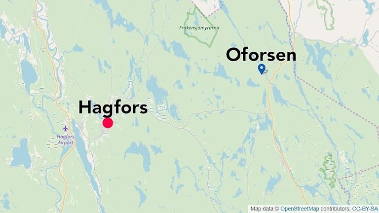 En karta som visar Hagfors och Oforsen. Foto/Grafik: OpenStreetMap.