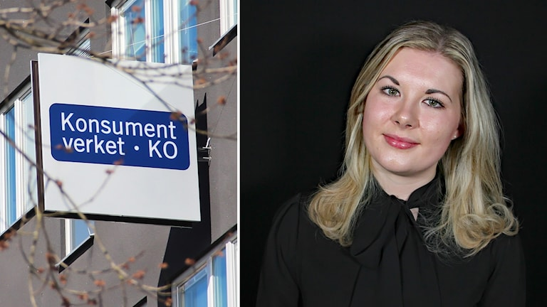 En skylt med texten Konsumentverket och en bild på Anna K Hult. Foto: Lars-Gunnar Olsson/Sveriges Radio.