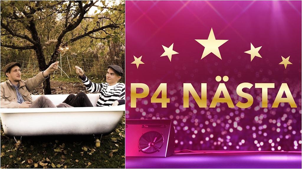 Montage med två män i ett badkar och en skylt som säger P4 Nästa.