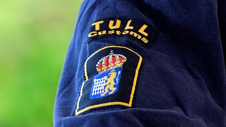 En ärm med ett tullmärke. Foto: Ludvig Thunman / TT