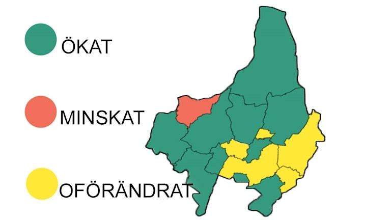Heltidsarbete i kommunerna 2015 jämfört med 2016.