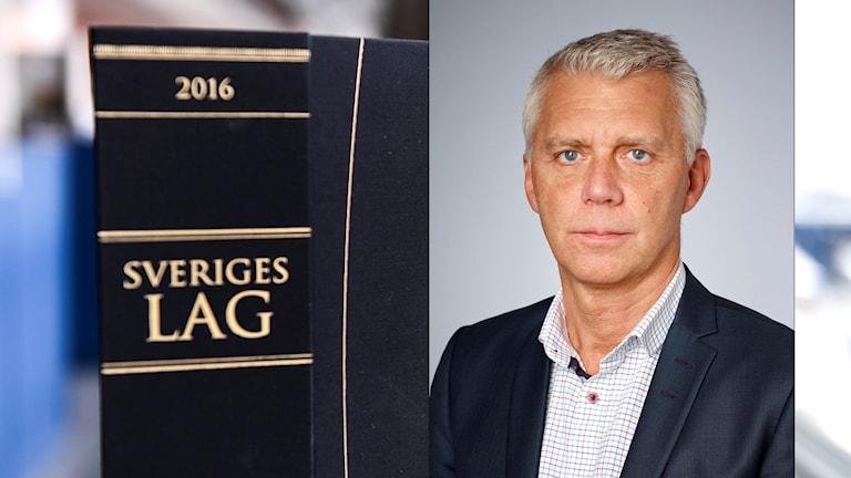En lagbok och Peter brodd (Infälld). Foto: Pontus Lundahl/TT och Thomas Carlgren.