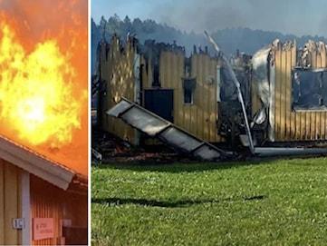 Skolbyggnad i Slottsbron totalförstörd i misstänkt mordbrand
