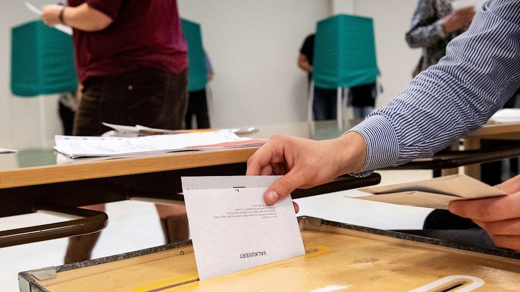 Röstning pågår i en vallokal, valkuvert stoppas ner. Foto: Johan Nilsson/TT.