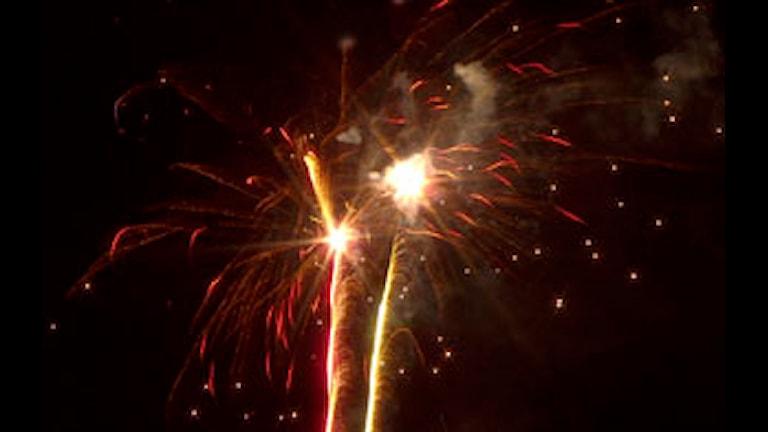 En fyrverkeripjäs exploderar mot en svart himmel.