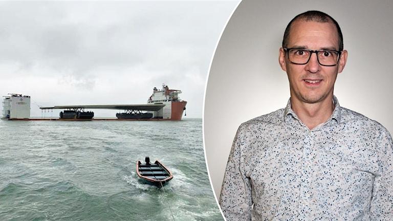 Markus Glaas och guldbron på en pråm över vatten. Foto: Frida Granström/Sveriges radio