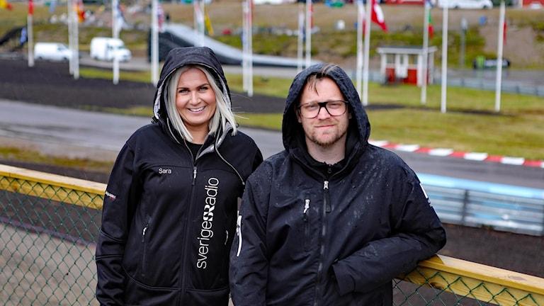 Sara Johansson och Jonas Hansson på Finnskogamotorstadion, Foto Örjan Bengtzing