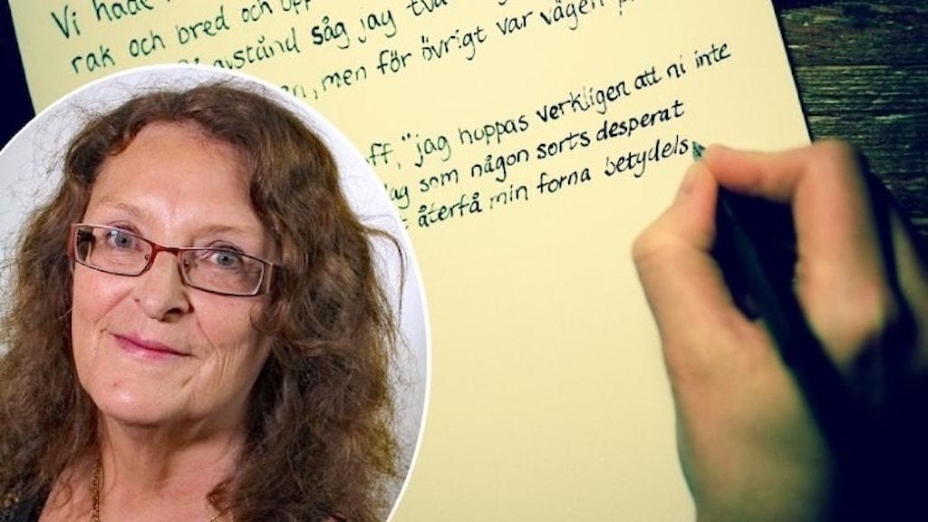 infälld kvinna på bild med skrivande hand