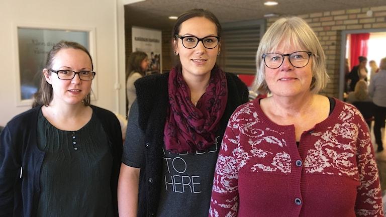 Linnea Lindberg, Malin Ericsson och Inger Blomberg. Foto: Per Larsson/Sveriges Radio.