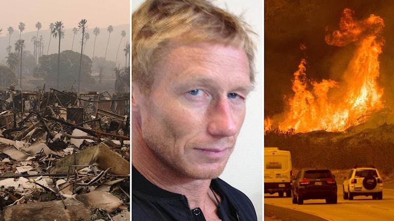 Bränder i Los Angeles och ett foto av Crille Forsberg. Foto: Mark Ralston och Noah Berger/TT och privat.