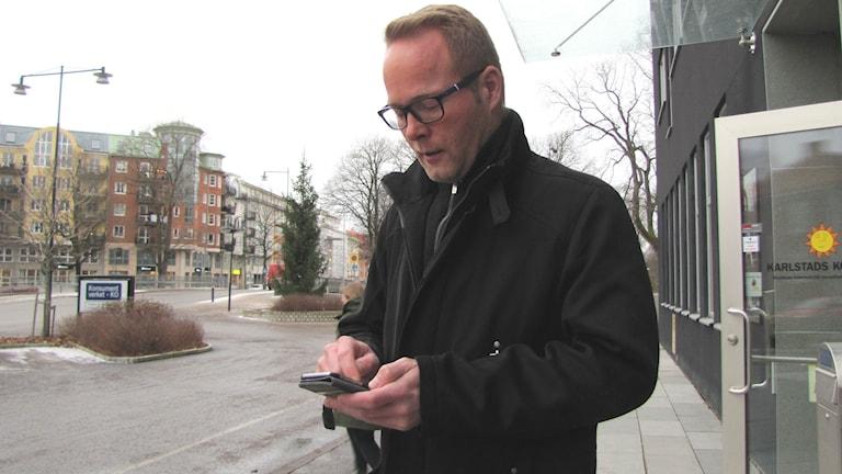Christian Norlin, socialdemokratisk ledamot i kommunstyrelsen i Karlstad. Foto: Magnus Hermansson/Sveriges Radio.