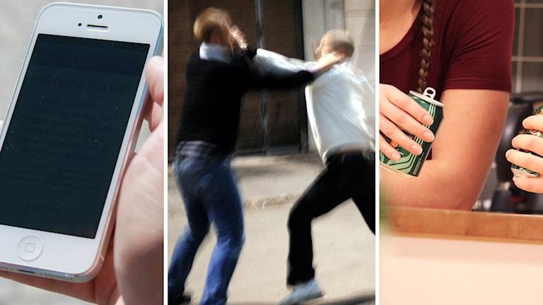 En mobil, personer som slåss och personer som dricker alkohol. Foto: Sveriges Radio och TT