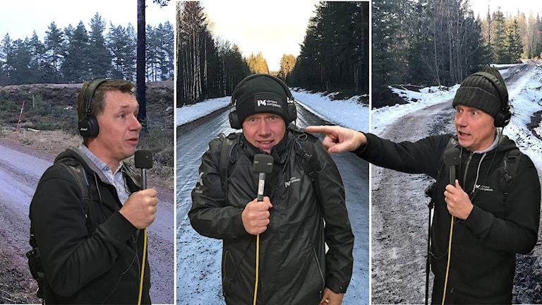 Per Larsson monterad på tre olika vägar för att symbolisera att han pratar med sig själv på tre olika ställen. Foto: Per Larsson och Frida Granström/Sveriges radio