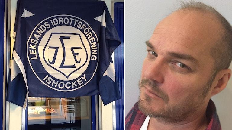 Leksands klubbmärke, Mikael Adamsson, sportkrönikör NWT. Foto: Sveriges Radio.