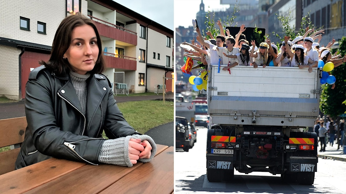 Kvinna sitter på en bänk och lutar sig över ett bord utomhus. Till höger en bild på ett studentflak.