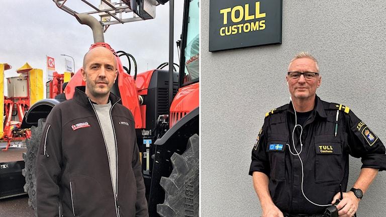 Två män, en framför en traktor och en framför tullstation