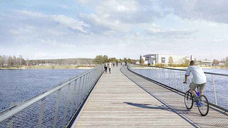 Skiss över nya cykelbron mellan Råtorp och Färjestad. Skiss/Karlstads kommun