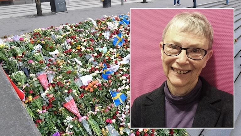 Blommor vid Sergels torg, Britta Magnryd (infälld). Foto: Sveriges Radio.