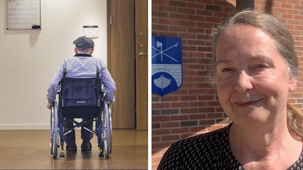 Montage: Äldre man i rullstol bakifrån. Kvinna kramför tegelfasad med Sunnes kommunvapen i bakgrunden. Foto: Pontus Lundahl/TT/Amanda Moln/Sveriges Radio.