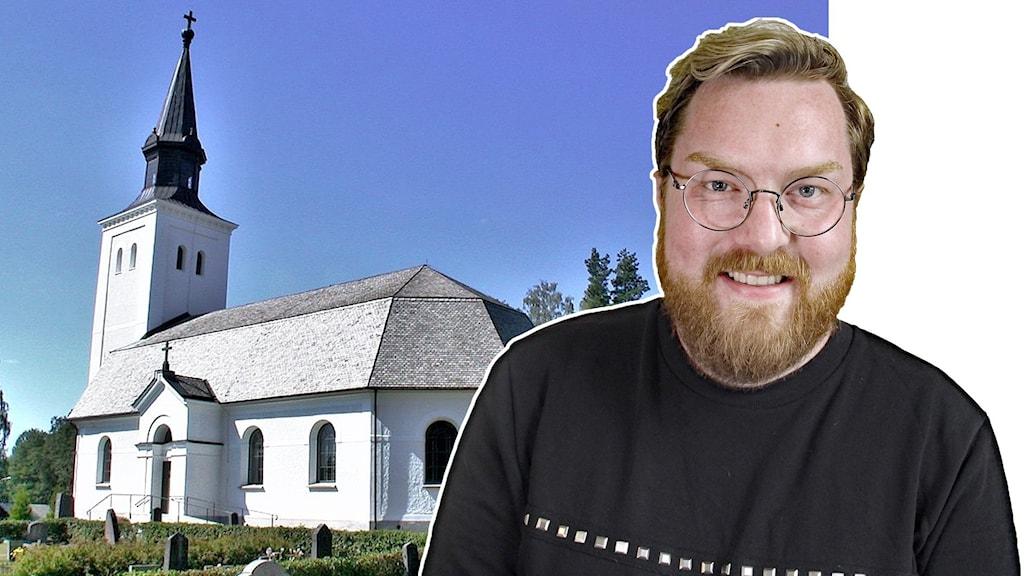 Ett kollage, en bild på kyrkan i Glava och en bild på Johannes Fransson.