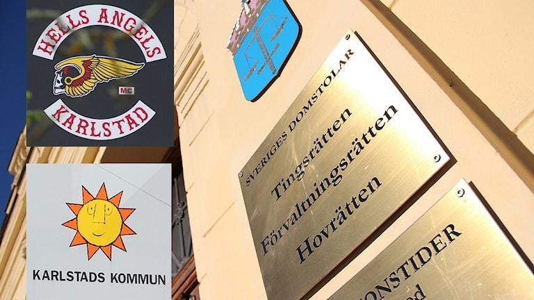 HA:s klubbmärke och kommunens logotype. Foto: Sveriges Radio.