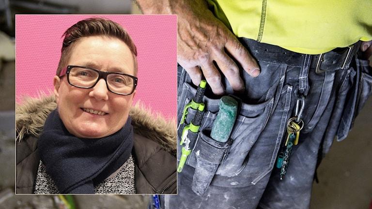 Marie Halvarsson och en man med snickarbälte. Foto: Sveriges Radio och Pontus Lundahl/TT.