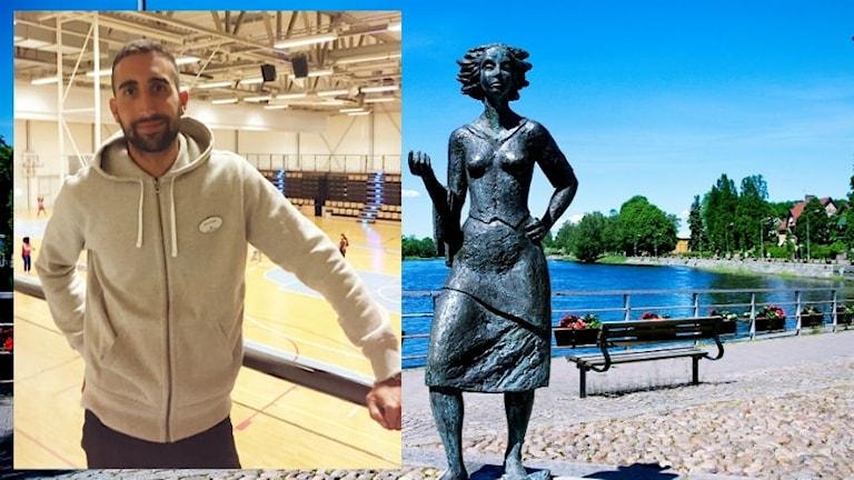 Man i idrottssal, staty av kvinna